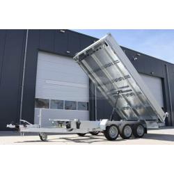 Humbaur 3-vägs el-tipp, 3-axlad, 410x210x35, 3500kg, El & handpump, 76cm